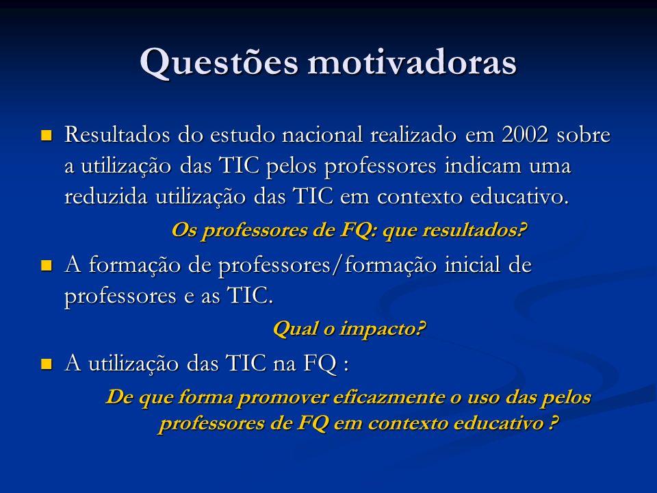 Questões motivadoras Resultados do estudo nacional realizado em 2002 sobre a utilização das TIC pelos professores indicam uma reduzida utilização das