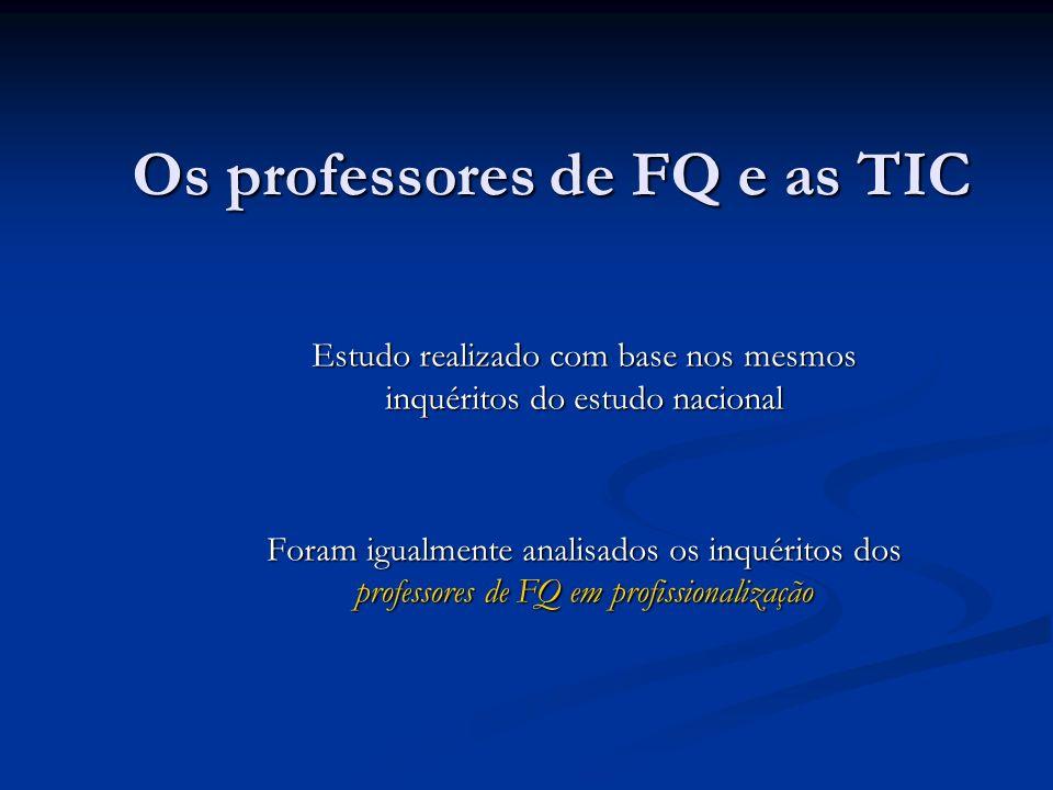 Os professores de FQ e as TIC Estudo realizado com base nos mesmos inquéritos do estudo nacional Foram igualmente analisados os inquéritos dos profess