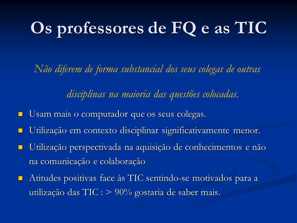 Os professores de FQ e as TIC Não diferem de forma substancial dos seus colegas de outras disciplinas na maioria das questões colocadas. Usam mais o c