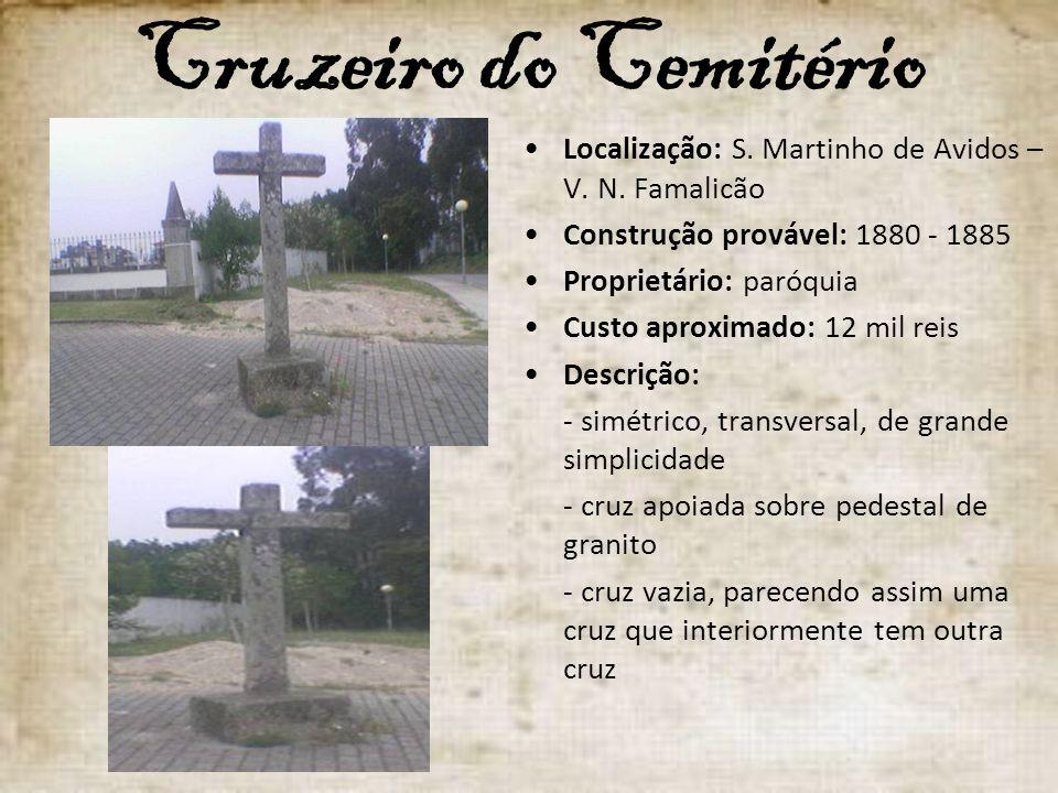Cruzeiro do Cemitério Localização: S. Martinho de Avidos – V. N. Famalicão Construção provável: 1880 - 1885 Proprietário: paróquia Custo aproximado: 1