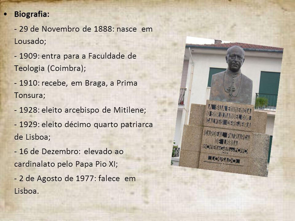 Biografia: - 29 de Novembro de 1888: nasce em Lousado; - 1909: entra para a Faculdade de Teologia (Coimbra); - 1910: recebe, em Braga, a Prima Tonsura