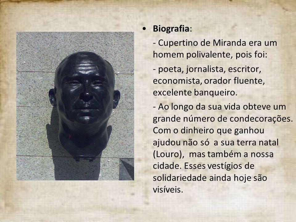 Biografia: - Cupertino de Miranda era um homem polivalente, pois foi: - poeta, jornalista, escritor, economista, orador fluente, excelente banqueiro.