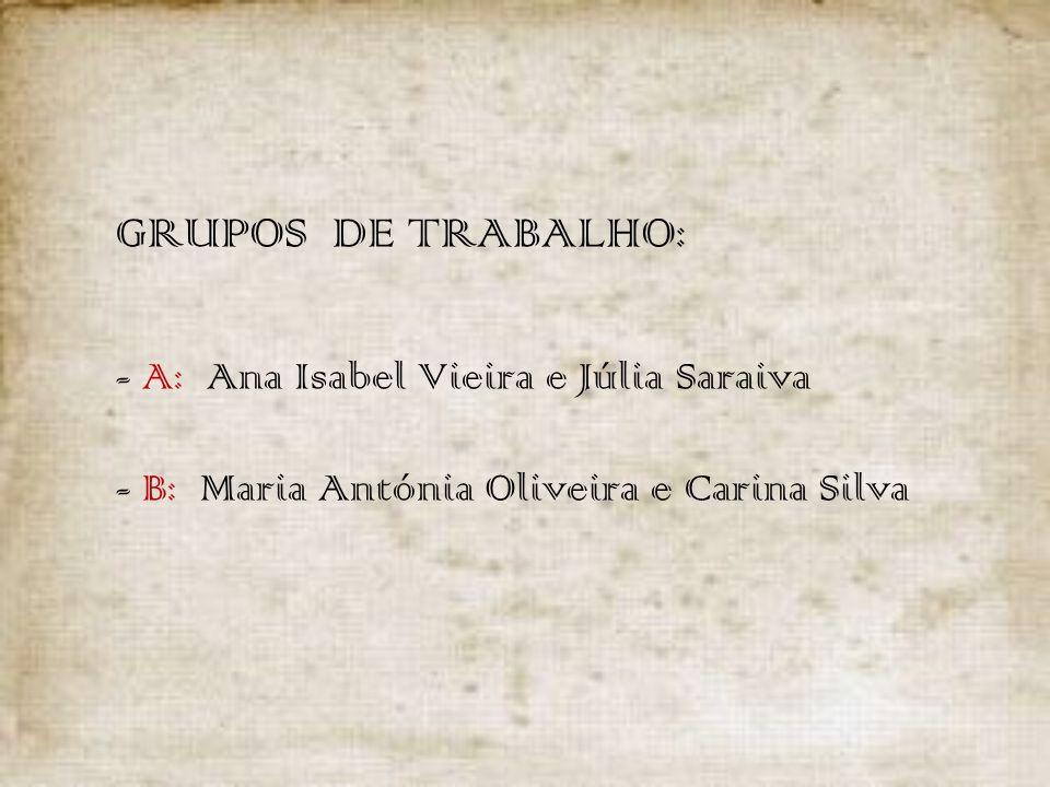 GRUPOS DE TRABALHO: - A: Ana Isabel Vieira e Júlia Saraiva - B: Maria Antónia Oliveira e Carina Silva