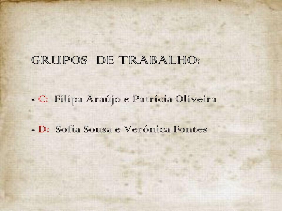 GRUPOS DE TRABALHO: - C: Filipa Araújo e Patrícia Oliveira - D: Sofia Sousa e Verónica Fontes