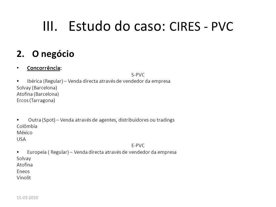2.O negócio Concorrência: S-PVC Ibérica (Regular) – Venda directa através de vendedor da empresa Solvay (Barcelona) Atofina (Barcelona) Ercos (Tarrago