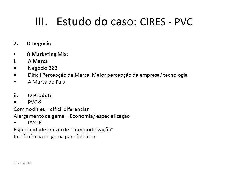 2.O negócio O Marketing Mix: i.A Marca Negócio B2B Difícil Percepção da Marca. Maior percepção da empresa/ tecnologia A Marca do País ii.O Produto PVC