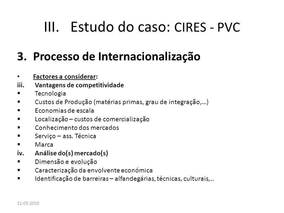 3.Processo de Internacionalização Factores a considerar: iii.Vantagens de competitividade Tecnologia Custos de Produção (matérias primas, grau de inte