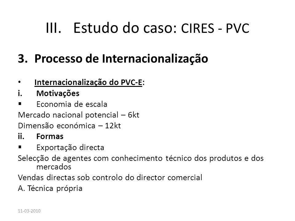 3.Processo de Internacionalização Internacionalização do PVC-E: i.Motivações Economia de escala Mercado nacional potencial – 6kt Dimensão económica –