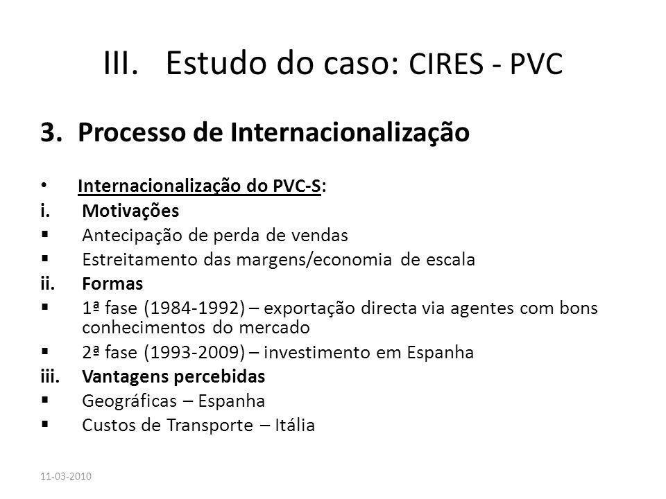 3.Processo de Internacionalização Internacionalização do PVC-S: i.Motivações Antecipação de perda de vendas Estreitamento das margens/economia de esca