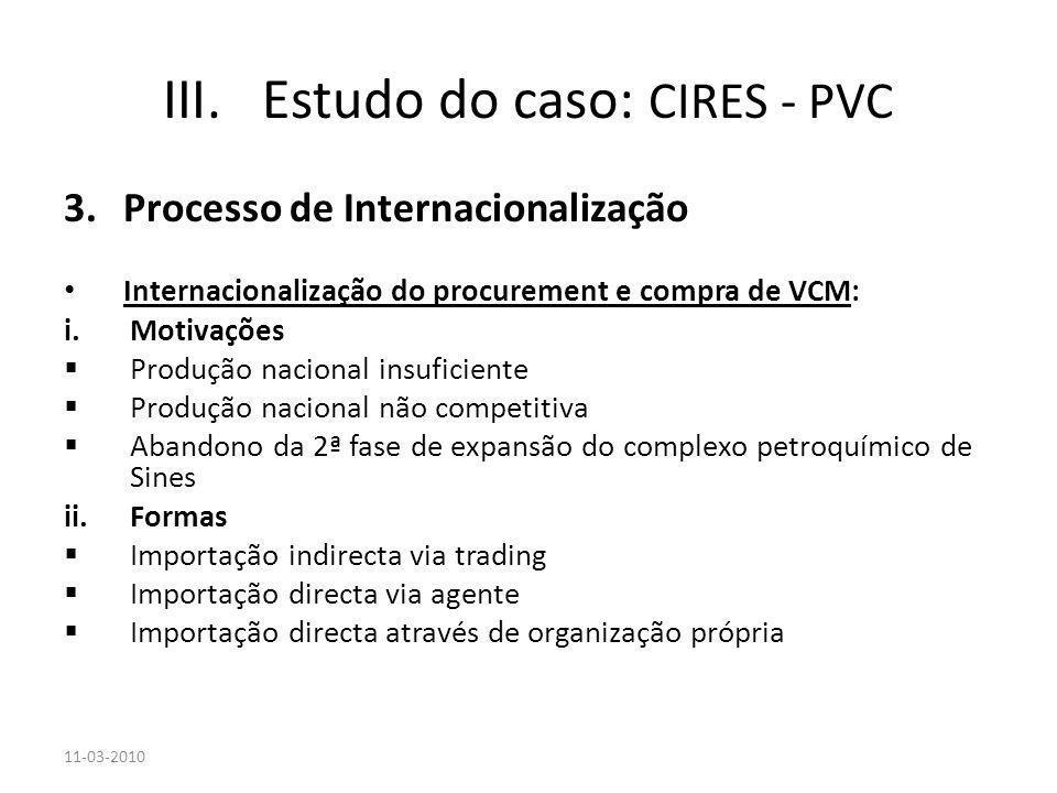 3.Processo de Internacionalização Internacionalização do procurement e compra de VCM: i.Motivações Produção nacional insuficiente Produção nacional nã