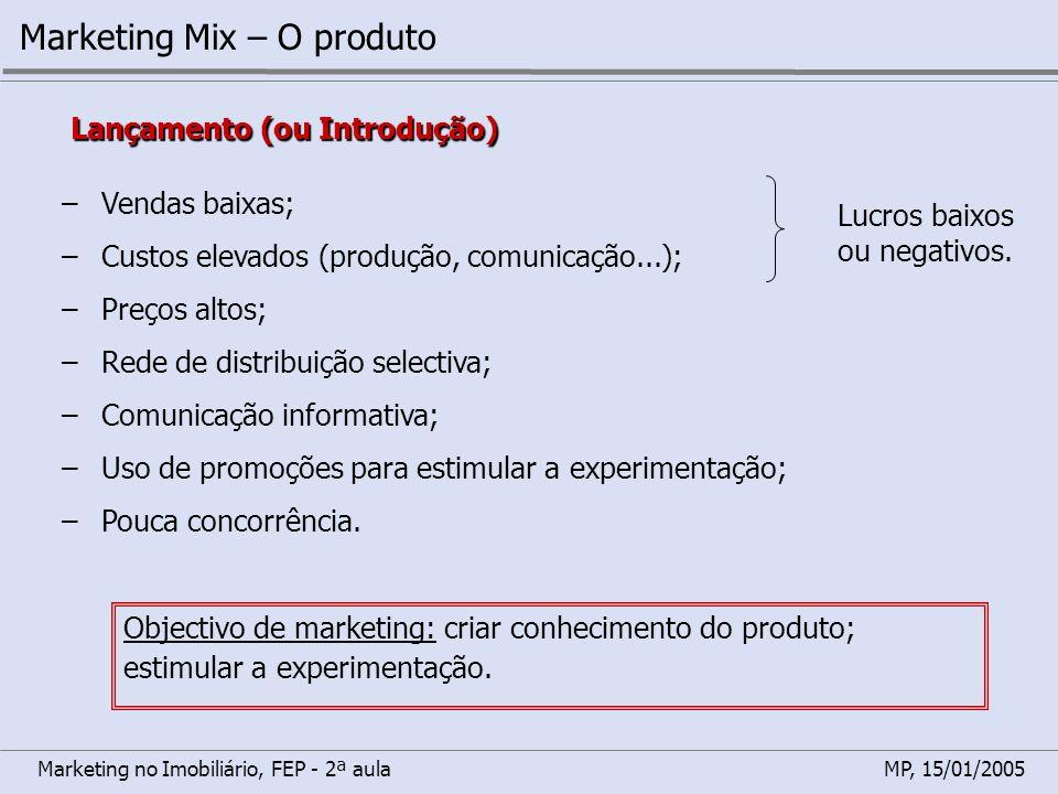 Marketing no Imobiliário, FEP - 2ª aulaMP, 15/01/2005 Marketing Mix – O produto Lançamento (ou Introdução) –Vendas baixas; –Custos elevados (produção,