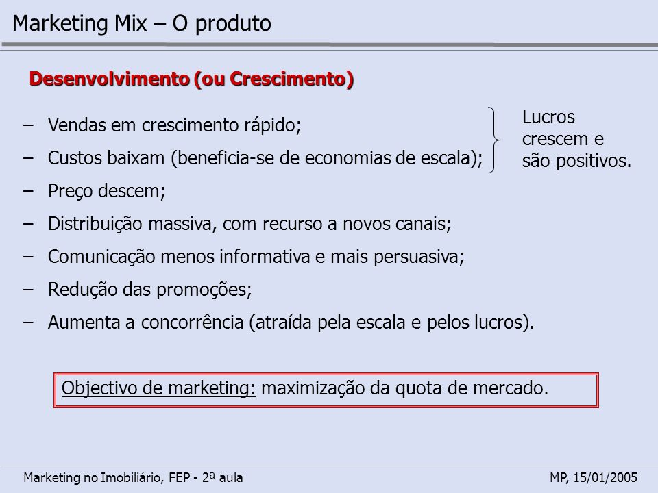 Marketing no Imobiliário, FEP - 2ª aulaMP, 15/01/2005 Marketing Mix – O produto Objectivo de marketing: maximização dos lucros e defesa da quota de mercado.