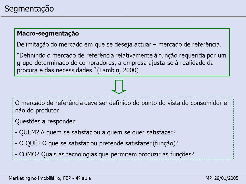 Marketing no Imobiliário, FEP - 4ª aulaMP, 29/01/2005 Segmentação Macro-segmentação Delimitação do mercado em que se deseja actuar – mercado de referê