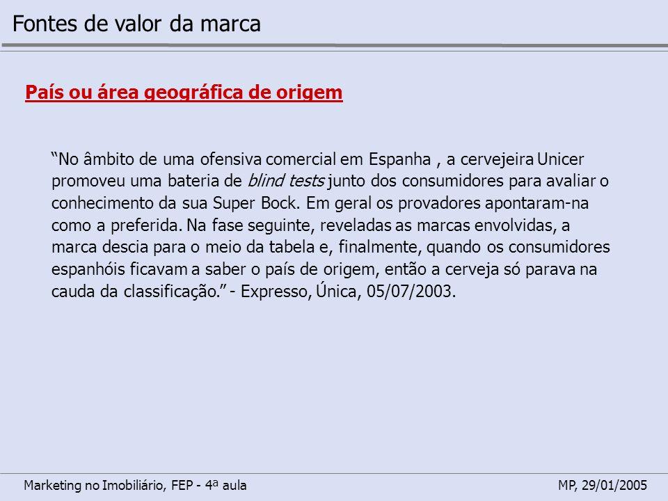 Marketing no Imobiliário, FEP - 4ª aulaMP, 29/01/2005 Fontes de valor da marca País ou área geográfica de origem No âmbito de uma ofensiva comercial e