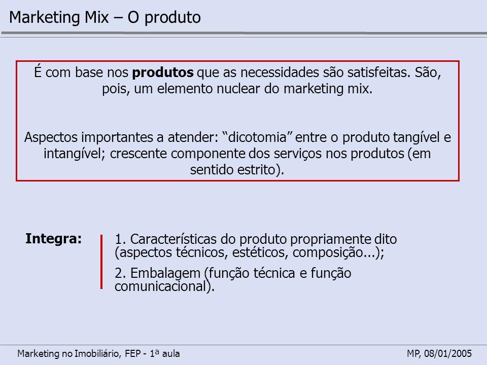 Marketing no Imobiliário, FEP - 1ª aulaMP, 08/01/2005 Marketing Mix – O produto É com base nos produtos que as necessidades são satisfeitas. São, pois