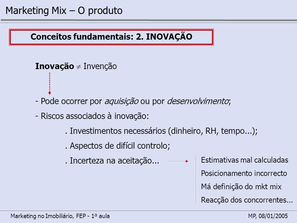 Marketing no Imobiliário, FEP - 1ª aulaMP, 08/01/2005 Marketing Mix – O produto Conceitos fundamentais: 2. INOVAÇÃO Inovação Invenção - Pode ocorrer p