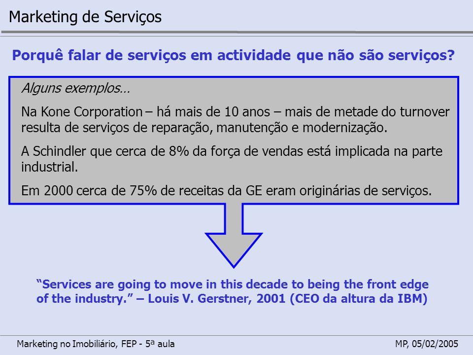 Marketing no Imobiliário, FEP - 5ª aulaMP, 05/02/2005 Marketing de Serviços Porquê falar de serviços em actividade que não são serviços? Alguns exempl