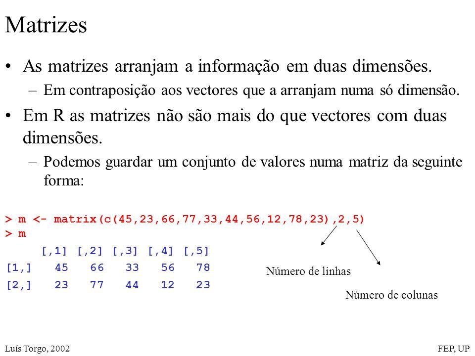 Luís Torgo, 2002FEP, UP Matrizes As matrizes arranjam a informação em duas dimensões. –Em contraposição aos vectores que a arranjam numa só dimensão.