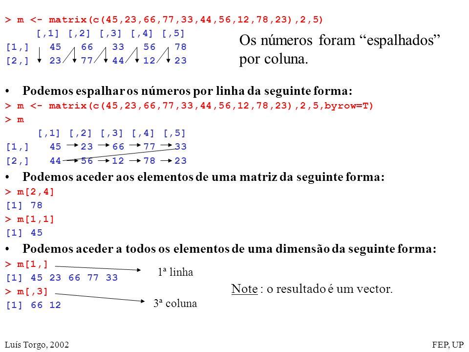 Luís Torgo, 2002FEP, UP > m <- matrix(c(45,23,66,77,33,44,56,12,78,23),2,5) [,1] [,2] [,3] [,4] [,5] [1,] 45 66 33 56 78 [2,] 23 77 44 12 23 Podemos espalhar os números por linha da seguinte forma: > m <- matrix(c(45,23,66,77,33,44,56,12,78,23),2,5,byrow=T) > m [,1] [,2] [,3] [,4] [,5] [1,] 45 23 66 77 33 [2,] 44 56 12 78 23 Podemos aceder aos elementos de uma matriz da seguinte forma: > m[2,4] [1] 78 > m[1,1] [1] 45 Podemos aceder a todos os elementos de uma dimensão da seguinte forma: > m[1,] [1] 45 23 66 77 33 > m[,3] [1] 66 12 1ª linha 3ª coluna Note : o resultado é um vector.