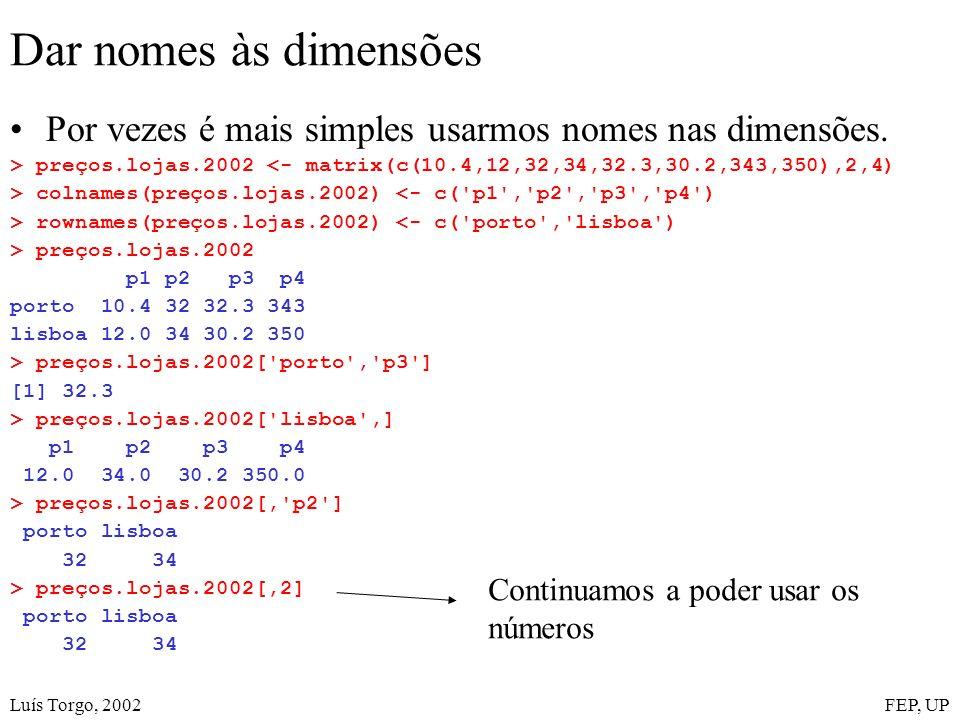 Luís Torgo, 2002FEP, UP Dar nomes às dimensões Por vezes é mais simples usarmos nomes nas dimensões. > preços.lojas.2002 <- matrix(c(10.4,12,32,34,32.
