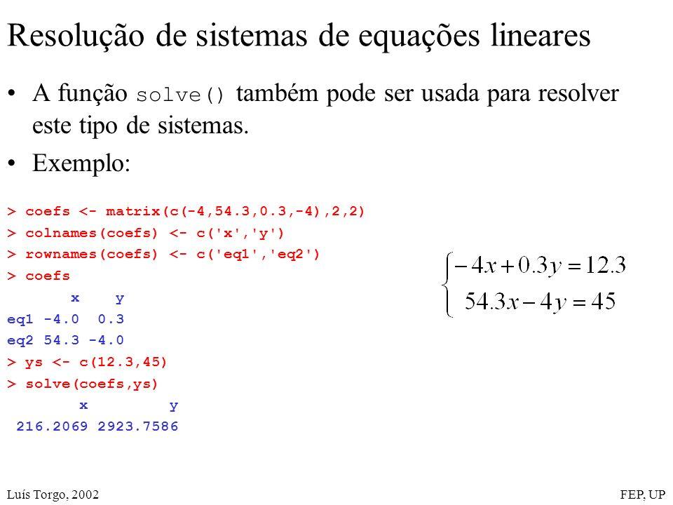Luís Torgo, 2002FEP, UP Resolução de sistemas de equações lineares A função solve() também pode ser usada para resolver este tipo de sistemas. Exemplo