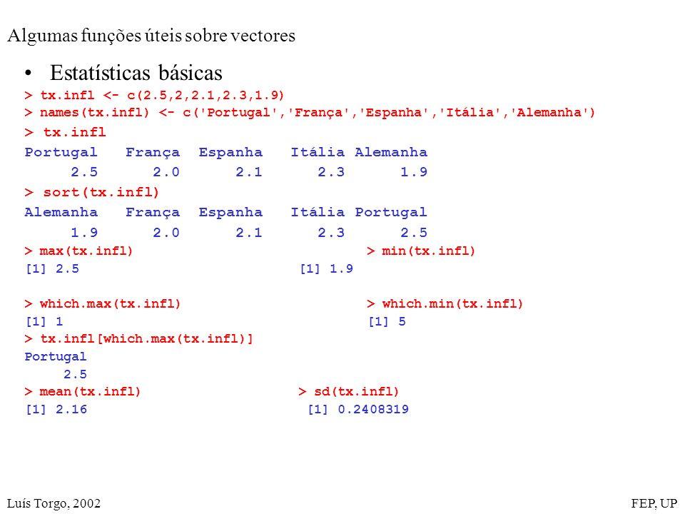 Luís Torgo, 2002FEP, UP Algumas funções úteis sobre vectores Estatísticas básicas > tx.infl <- c(2.5,2,2.1,2.3,1.9) > names(tx.infl) <- c('Portugal','
