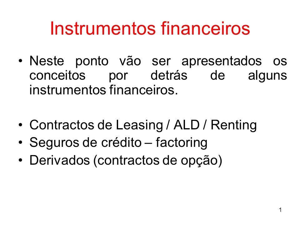 1 Instrumentos financeiros Neste ponto vão ser apresentados os conceitos por detrás de alguns instrumentos financeiros. Contractos de Leasing / ALD /