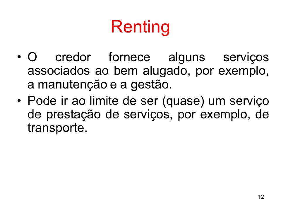 12 Renting O credor fornece alguns serviços associados ao bem alugado, por exemplo, a manutenção e a gestão. Pode ir ao limite de ser (quase) um servi