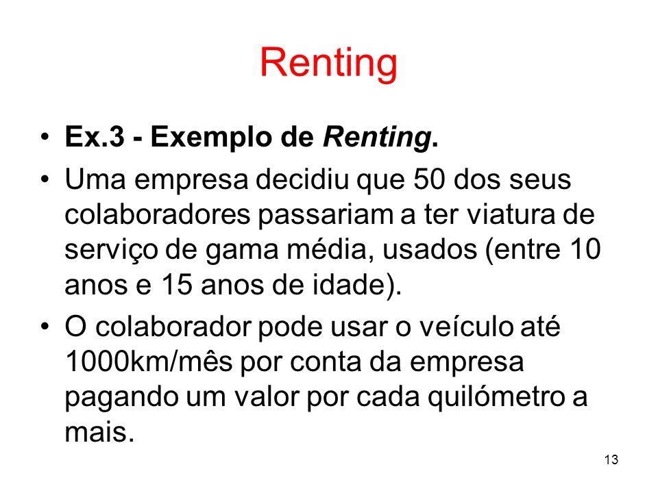 13 Renting Ex.3 - Exemplo de Renting. Uma empresa decidiu que 50 dos seus colaboradores passariam a ter viatura de serviço de gama média, usados (entr