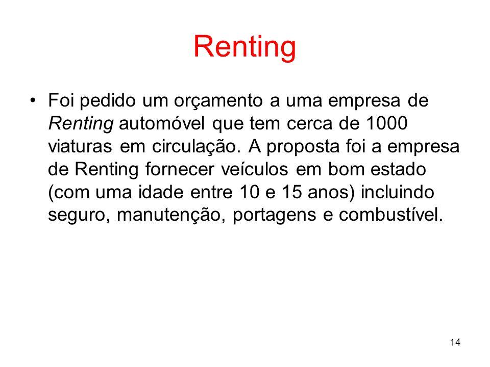 14 Renting Foi pedido um orçamento a uma empresa de Renting automóvel que tem cerca de 1000 viaturas em circulação. A proposta foi a empresa de Rentin