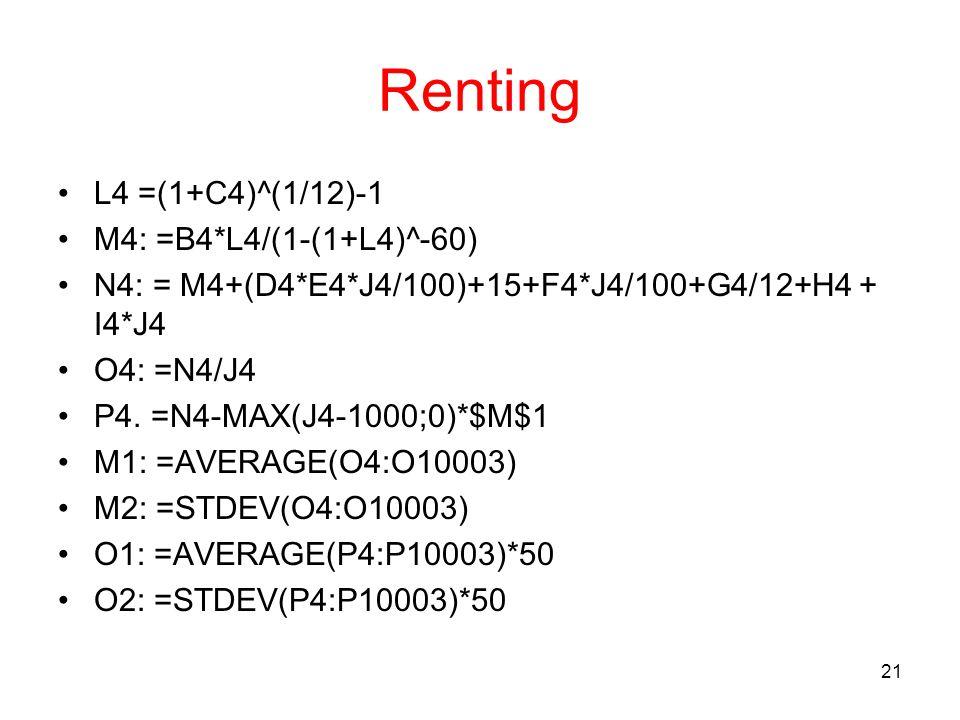 21 Renting L4 =(1+C4)^(1/12)-1 M4: =B4*L4/(1-(1+L4)^-60) N4: = M4+(D4*E4*J4/100)+15+F4*J4/100+G4/12+H4 + I4*J4 O4: =N4/J4 P4. =N4-MAX(J4-1000;0)*$M$1