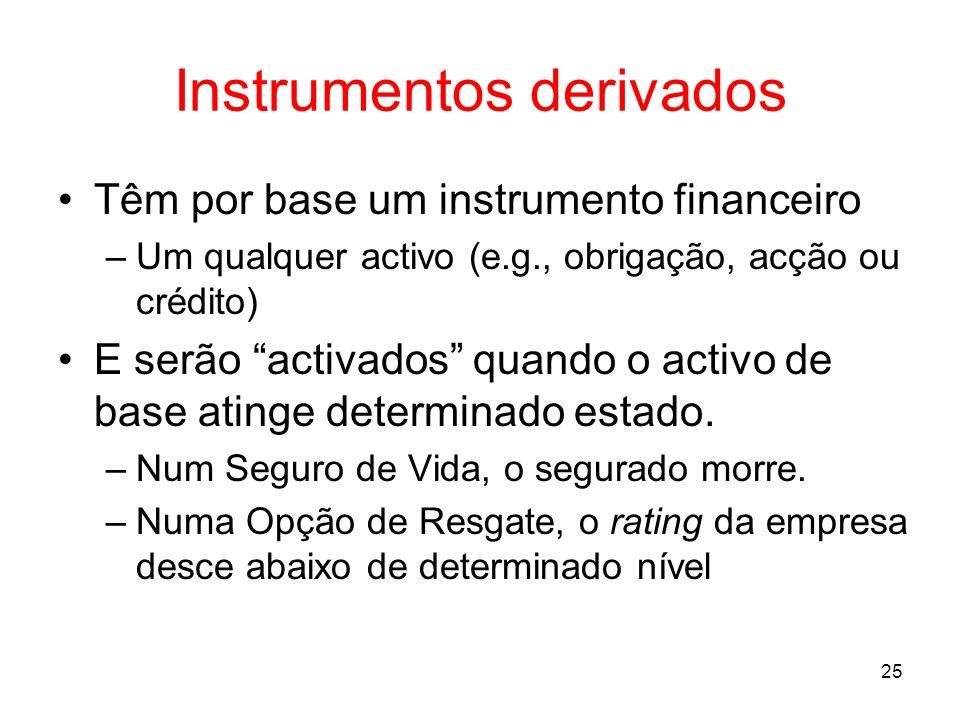 25 Instrumentos derivados Têm por base um instrumento financeiro –Um qualquer activo (e.g., obrigação, acção ou crédito) E serão activados quando o ac