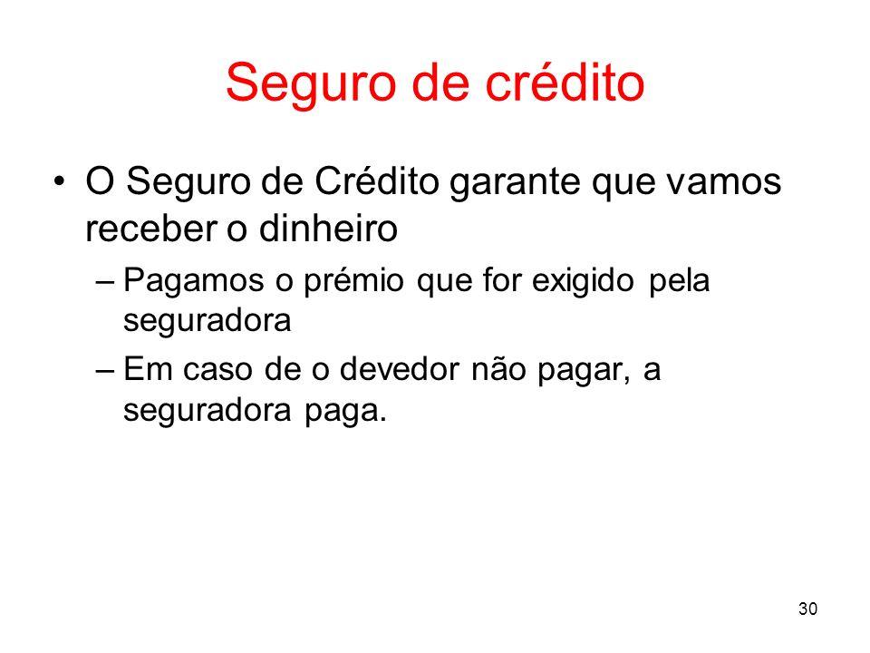 30 Seguro de crédito O Seguro de Crédito garante que vamos receber o dinheiro –Pagamos o prémio que for exigido pela seguradora –Em caso de o devedor