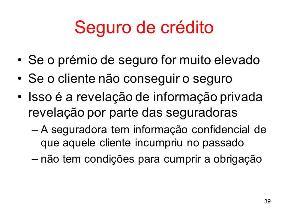 39 Seguro de crédito Se o prémio de seguro for muito elevado Se o cliente não conseguir o seguro Isso é a revelação de informação privada revelação po