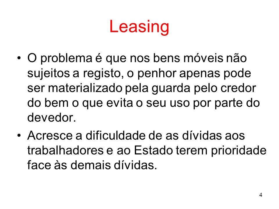 5 Leasing Nestes contratos, uma das partes (o credor/locador) cede à outra parte (o devedor/locatário) o usufruto do bem mediante o pagamento de uma renda periódica mas o bem fica sempre na propriedade do credor.