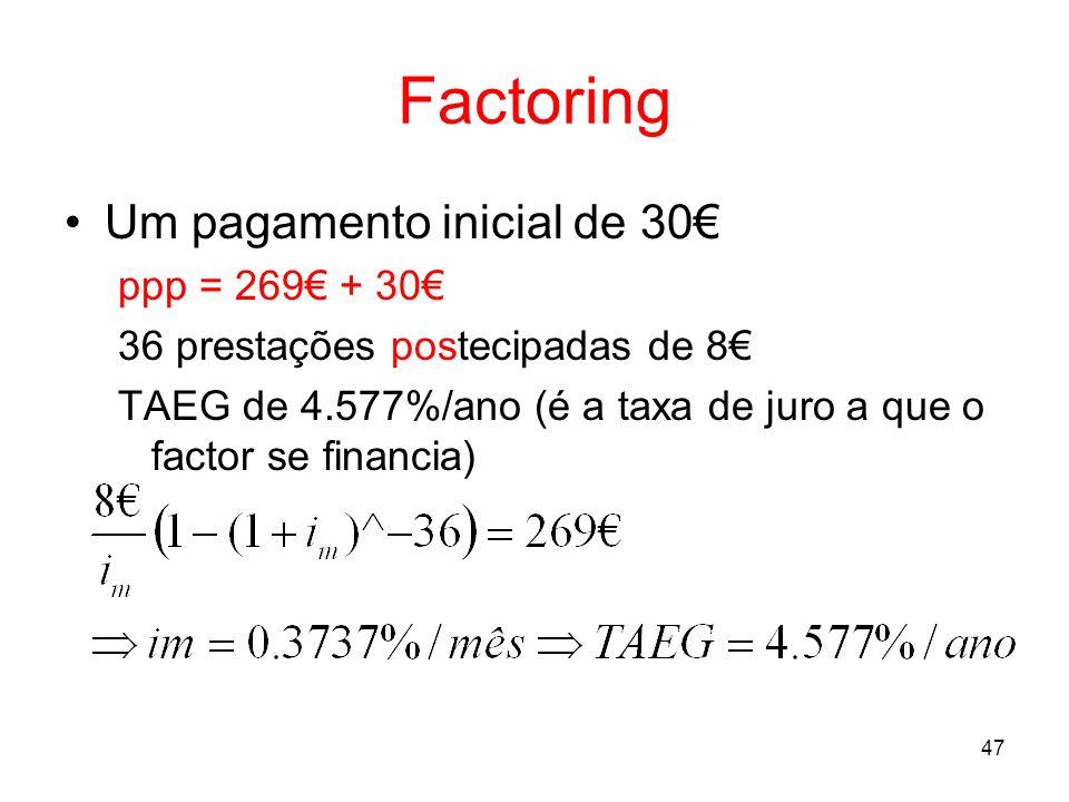 47 Factoring Um pagamento inicial de 30 ppp = 269 + 30 36 prestações postecipadas de 8 TAEG de 4.577%/ano (é a taxa de juro a que o factor se financia