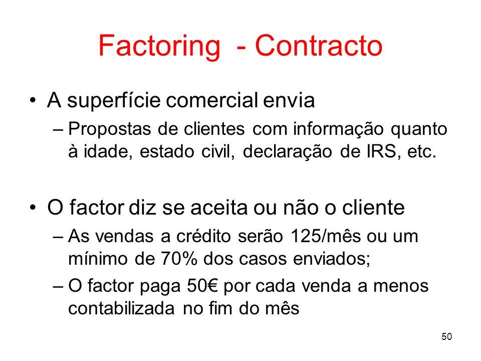 50 Factoring - Contracto A superfície comercial envia –Propostas de clientes com informação quanto à idade, estado civil, declaração de IRS, etc. O fa