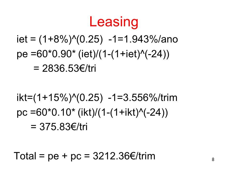 8 Leasing iet = (1+8%)^(0.25) -1=1.943%/ano pe =60*0.90* (iet)/(1-(1+iet)^(-24)) = 2836.53/tri ikt=(1+15%)^(0.25) -1=3.556%/trim pc =60*0.10* (ikt)/(1