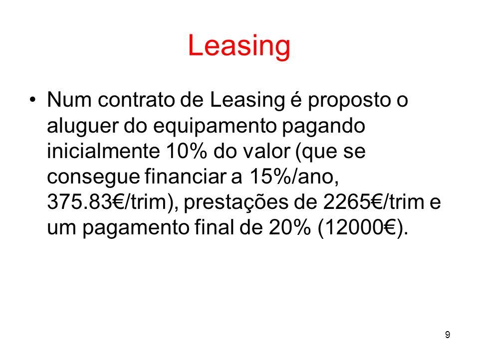 10 Leasing Compararmos as condições do Leasing (descontando os pagamentos para o presente à taxa de 8%/ano), os custos são menores em 6.1%: VA = 2265* (1-(1+1.943%)^(-24))/(1.943%) + 12000*(1+1.943%)^(-24) = 50681.68 Que compara com os 54000 anteriores