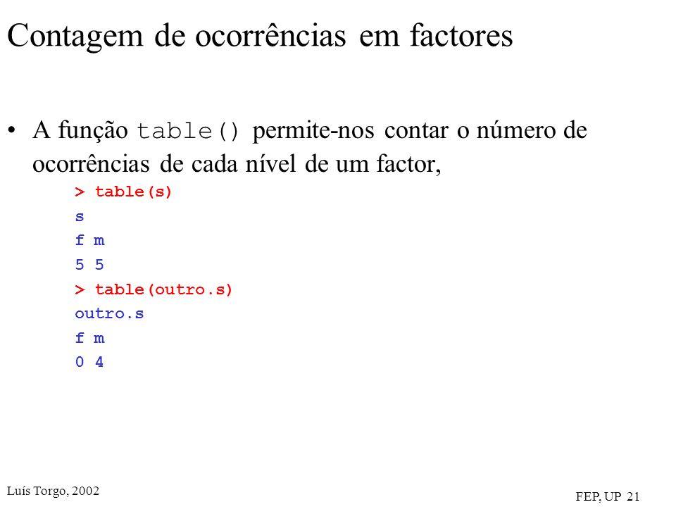 Luís Torgo, 2002 FEP, UP 21 Contagem de ocorrências em factores A função table() permite-nos contar o número de ocorrências de cada nível de um factor, > table(s) s f m 5 > table(outro.s) outro.s f m 0 4