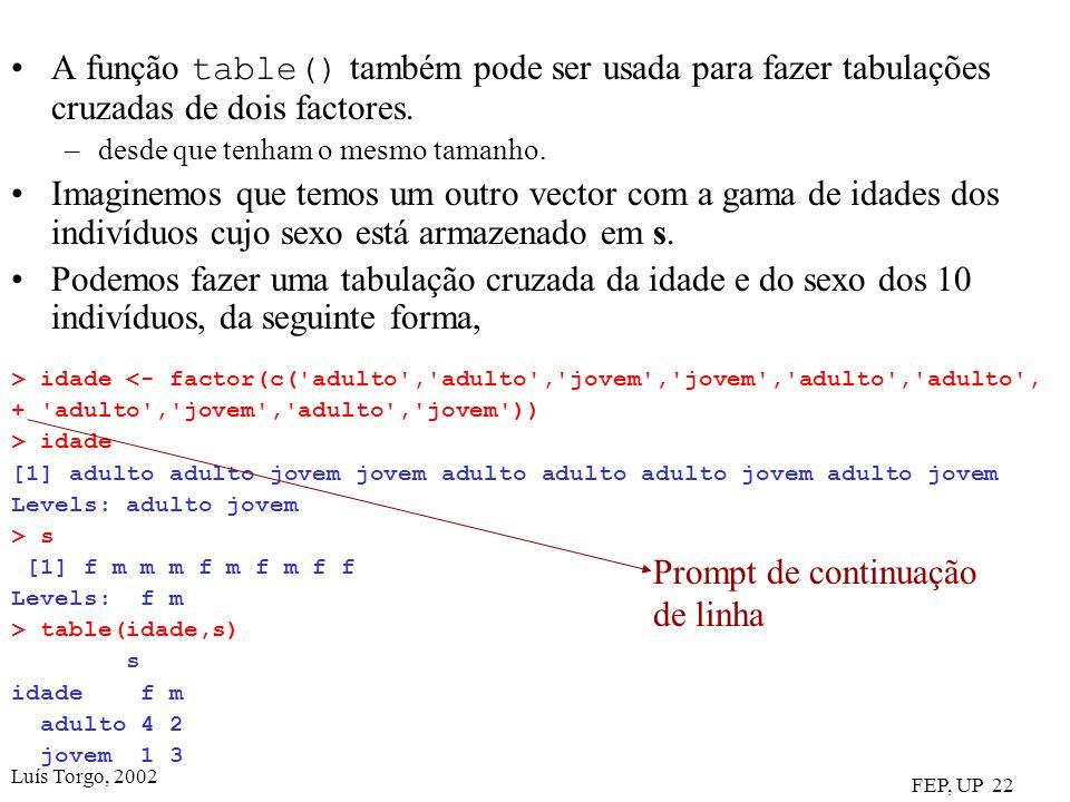 Luís Torgo, 2002 FEP, UP 22 A função table() também pode ser usada para fazer tabulações cruzadas de dois factores. –desde que tenham o mesmo tamanho.