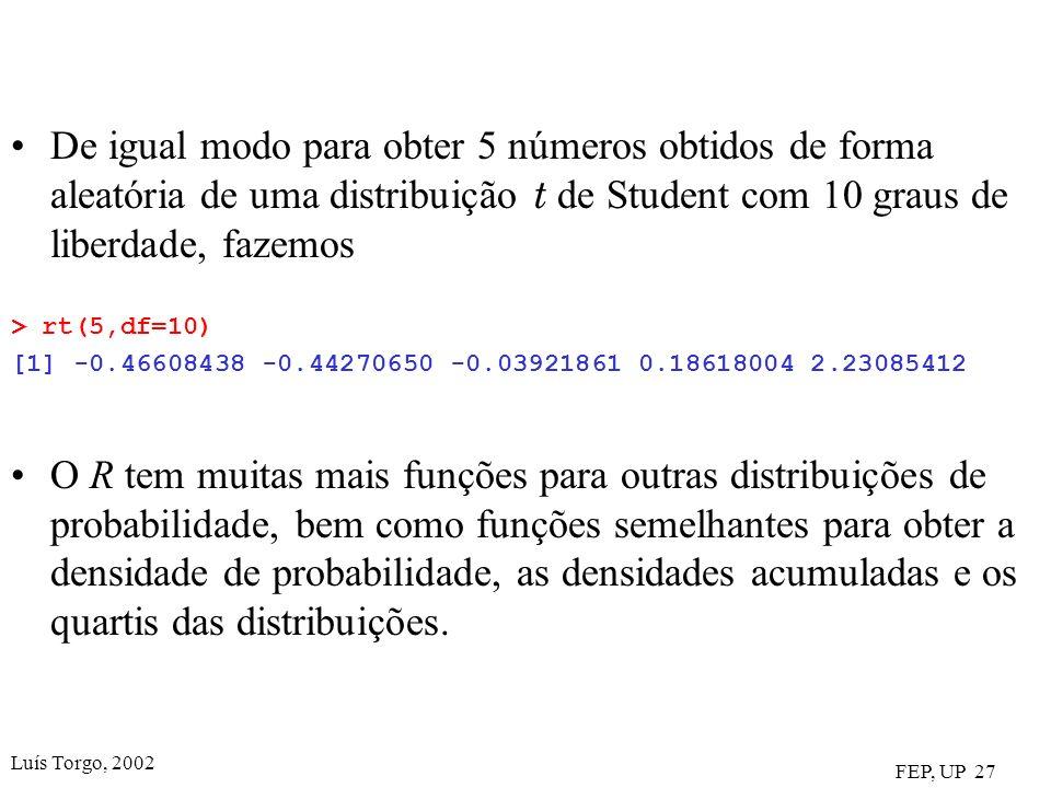 Luís Torgo, 2002 FEP, UP 27 De igual modo para obter 5 números obtidos de forma aleatória de uma distribuição t de Student com 10 graus de liberdade, fazemos > rt(5,df=10) [1] -0.46608438 -0.44270650 -0.03921861 0.18618004 2.23085412 O R tem muitas mais funções para outras distribuições de probabilidade, bem como funções semelhantes para obter a densidade de probabilidade, as densidades acumuladas e os quartis das distribuições.