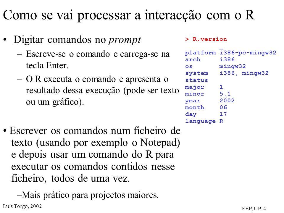 Luís Torgo, 2002 FEP, UP 4 Como se vai processar a interacção com o R Digitar comandos no prompt –Escreve-se o comando e carrega-se na tecla Enter. –O