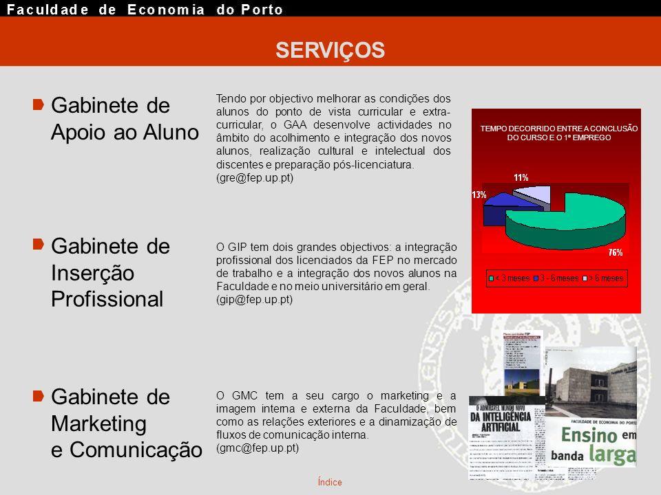 SERVIÇOS Gabinete de Apoio ao Aluno Gabinete de Marketing e Comunicação Gabinete de Inserção Profissional Índice Tendo por objectivo melhorar as condi