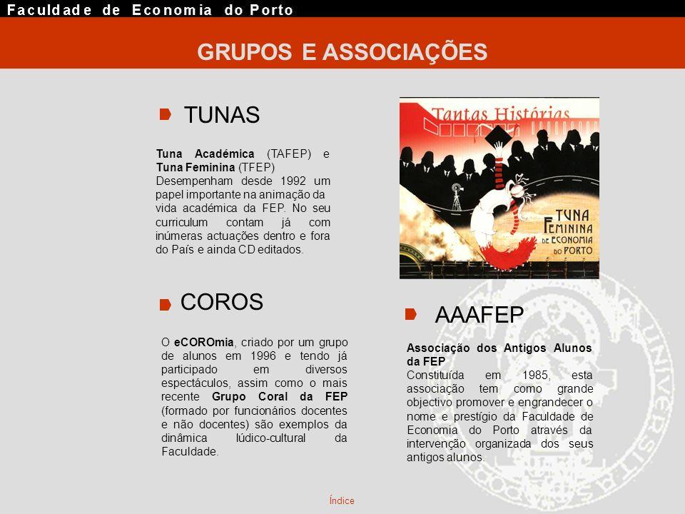 GRUPOS E ASSOCIAÇÕES AAAFEP Tuna Académica (TAFEP) e Tuna Feminina (TFEP) Desempenham desde 1992 um papel importante na animação da vida académica da