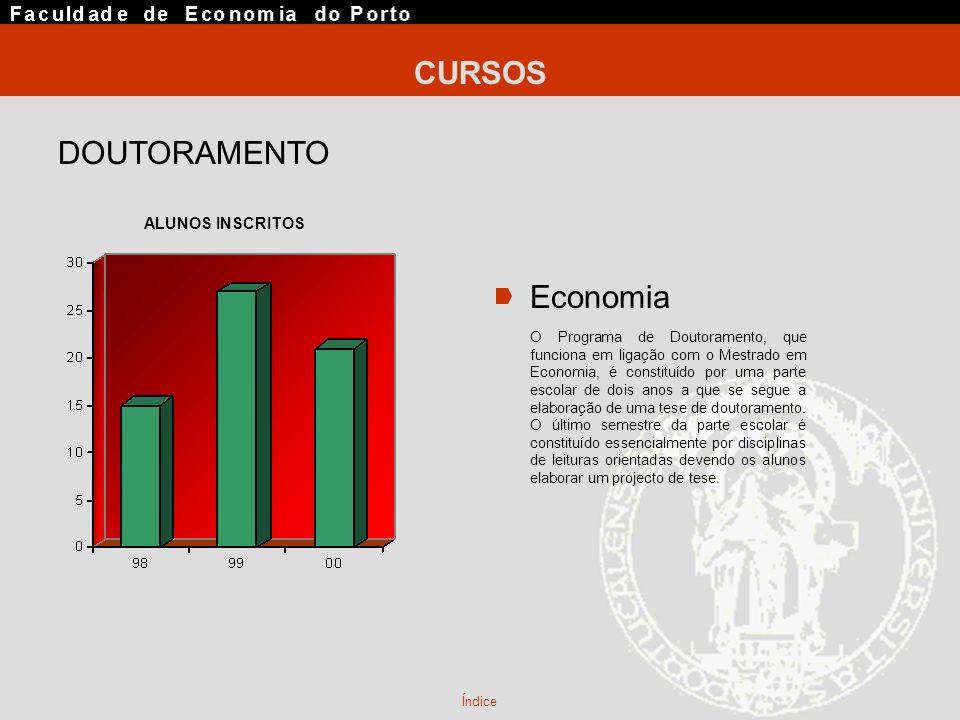 DOUTORAMENTO Economia O Programa de Doutoramento, que funciona em ligação com o Mestrado em Economia, é constituído por uma parte escolar de dois anos