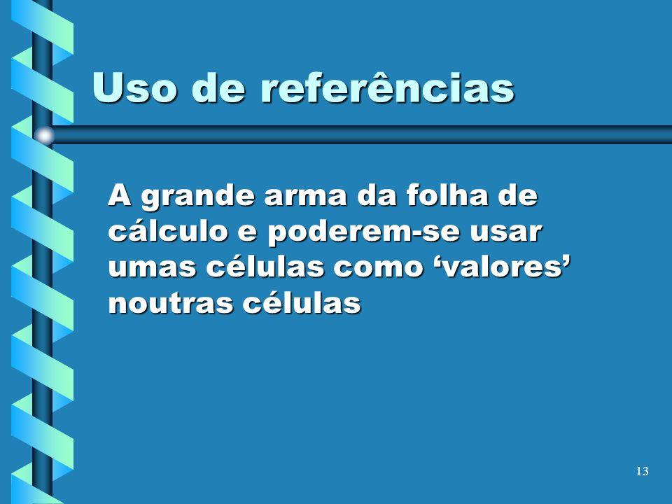 13 Uso de referências A grande arma da folha de cálculo e poderem-se usar umas células como valores noutras células