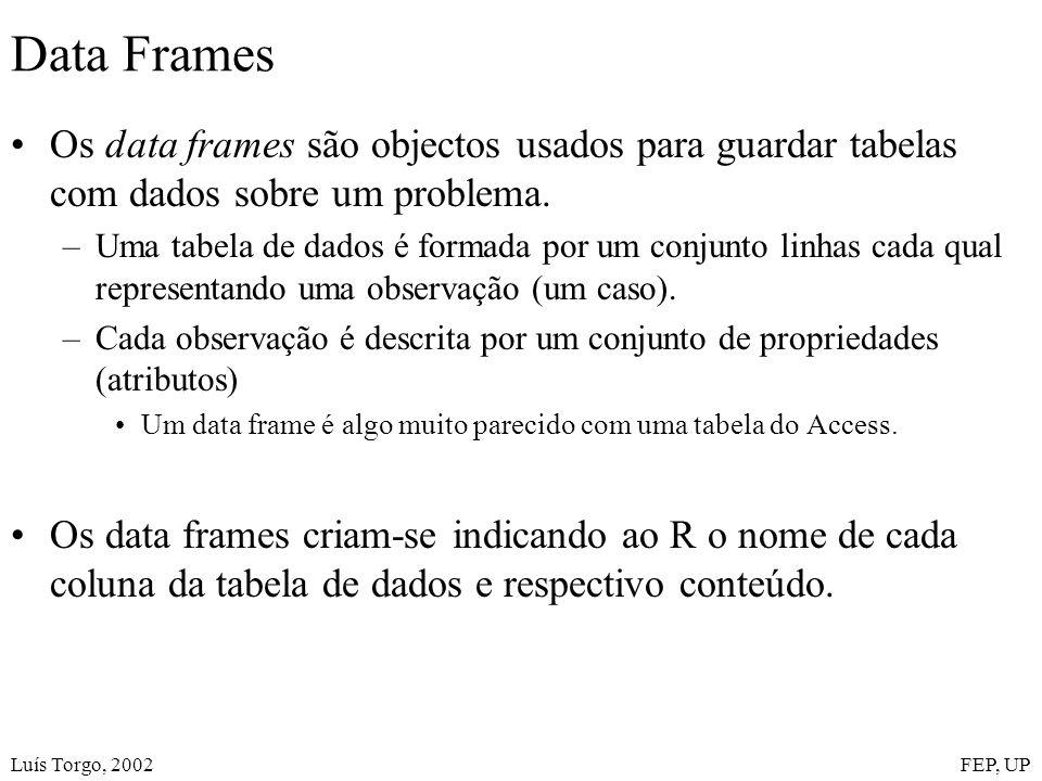 Luís Torgo, 2002FEP, UP Data Frames Os data frames são objectos usados para guardar tabelas com dados sobre um problema.