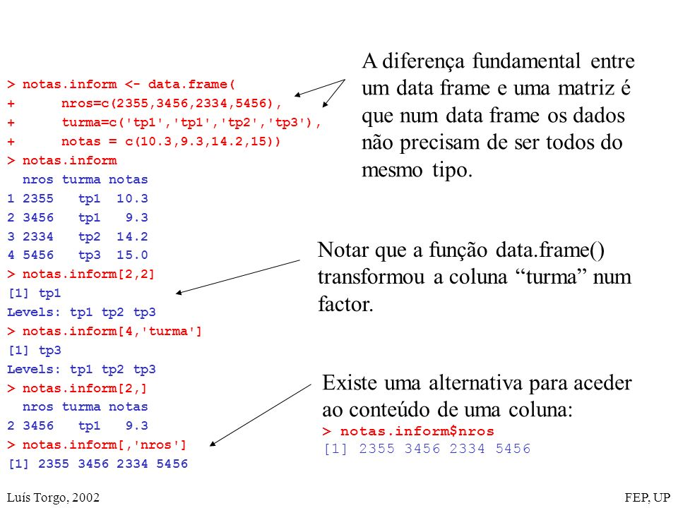 Luís Torgo, 2002FEP, UP > notas.inform <- data.frame( + nros=c(2355,3456,2334,5456), + turma=c( tp1 , tp1 , tp2 , tp3 ), + notas = c(10.3,9.3,14.2,15)) > notas.inform nros turma notas 1 2355 tp1 10.3 2 3456 tp1 9.3 3 2334 tp2 14.2 4 5456 tp3 15.0 > notas.inform[2,2] [1] tp1 Levels: tp1 tp2 tp3 > notas.inform[4, turma ] [1] tp3 Levels: tp1 tp2 tp3 > notas.inform[2,] nros turma notas 2 3456 tp1 9.3 > notas.inform[, nros ] [1] 2355 3456 2334 5456 Notar que a função data.frame() transformou a coluna turma num factor.