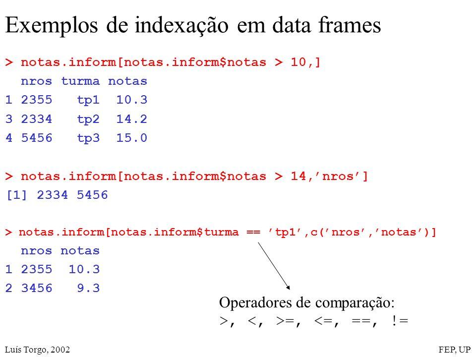 Luís Torgo, 2002FEP, UP Exemplos de indexação em data frames > notas.inform[notas.inform$notas > 10,] nros turma notas 1 2355 tp1 10.3 3 2334 tp2 14.2 4 5456 tp3 15.0 > notas.inform[notas.inform$notas > 14,nros] [1] 2334 5456 > notas.inform[notas.inform$turma == tp1,c(nros,notas)] nros notas 1 2355 10.3 2 3456 9.3 Operadores de comparação: >, =, <=, ==, !=
